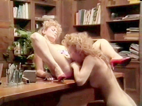 Female classic porn stars act out lesbian love
