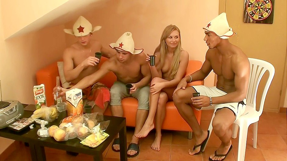Three dicks for a blonde
