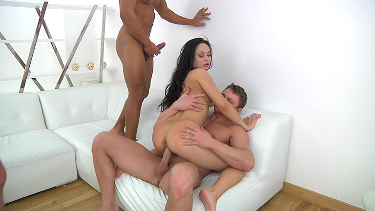 Hard fuck in the ass and mouth of a young brunette