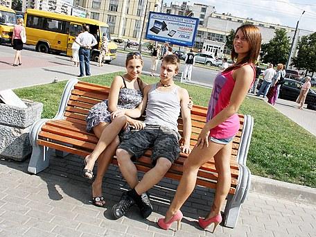 two girls public