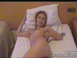 Private tape with seducing bimbo stripping on cam